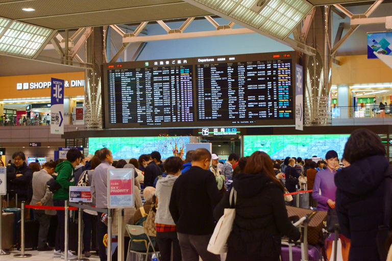Over booking at crowded-airport